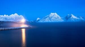 Blue Lake Mountain Snow Winter 2560x1600 Wallpaper