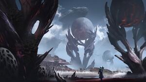 ZQ Digital Art Surreal Alien Planet Giant Dragon Landscape 1920x835 Wallpaper
