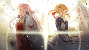 Blonde Crossover Darling In The Franxx Pink Hair Violet Evergarden Anime Violet Evergarden Character 3840x2160 wallpaper