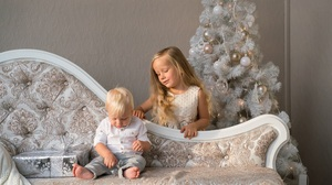 Baby Child Christmas Christmas Tree Gift 2560x1707 Wallpaper