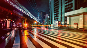 Neon Neon Lights Colorful Night Black Background Urban Cityscape City Street Lines 5120x2880 wallpaper