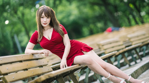 Asian Model Women Long Hair Dark Hair Depth Of Field Red Dress Barefoot Sandal Painted Toenails Benc 2560x1707 Wallpaper