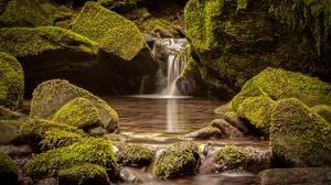 Moss Nature Rock Stream 2048x1365 Wallpaper