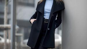 Denis Lytkin Women Brunette Looking At Viewer Turtlenecks Black Clothing Coats Legs Crossed Outdoors 1666x2500 wallpaper