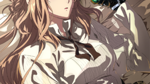 Violet Evergarden Anime Anime Girls Blue Eyes Long Hair Looking At Viewer Blonde In Bed 1698x2400 Wallpaper