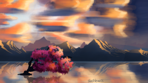 Cherry Blossom Lake Mountains Sunset Clouds Reflection Shining 3840x2160 Wallpaper