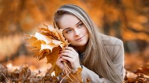 Blonde Fall Girl Leaf Long Hair Lying Down Model Smile Woman 2048x1315 Wallpaper