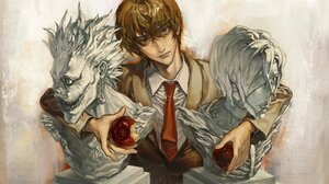 Death Note Anime Anime Boys Tie Apples Food Fruit Looking At Viewer 1920x1289 wallpaper