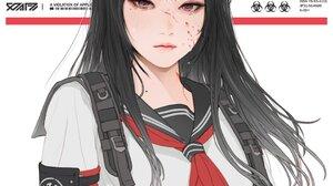 Gharliera Cyberpunk Cybernetics Anime Girls School Uniform 1080x1350 wallpaper