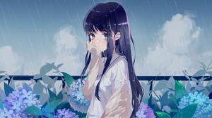 Anime Anime Girls Rain Crying Dark Hair Long Hair Plants Flowers Fence Clouds Sky Blue Eyes Sweater  2560x1440 Wallpaper