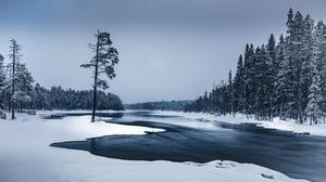 Nature River Snow 3000x2000 Wallpaper