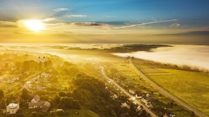 Aerial Fog Horizon Landscape Sunbeam 2048x1284 Wallpaper