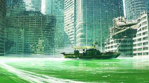 Artwork Digital Art Ship Building Dystopian Post Apocalypse Sailing Destruction Birds 2407x1024 Wallpaper