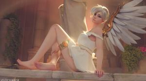 Mercy Mercy Overwatch Overwatch Velocihaxor 2560x1440 wallpaper