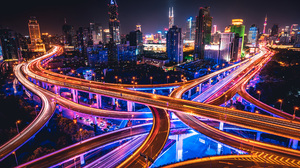 China Night Highway Time Lapse Light Building Skyscraper 2560x1600 Wallpaper