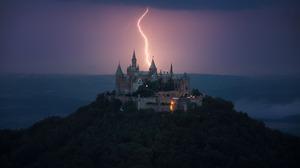 Germany Castle Hohenzollern Lightning Castle Dark Landscape Building 2048x1354 Wallpaper