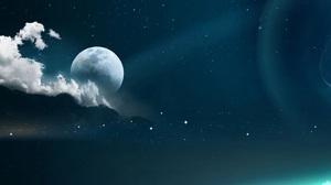 Artwork Space Stars Clouds Moon 1920x1200 Wallpaper