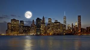 City Night Full Moon Moon New York 5616x3744 Wallpaper