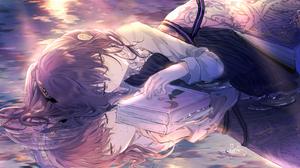 Anime Anime Girls Lying Down Brunette Books Reflection Fantasy Art Fantasy Girl 2782x1640 Wallpaper
