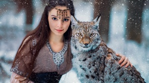 Women Model Animals Lux Animal Big Cats Fantasy Girl Snow Long Hair Women Outdoors Outdoors Winter D 2000x1333 Wallpaper