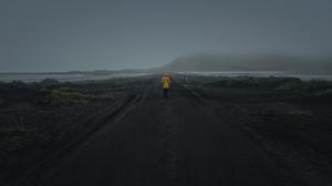 Road Coats Mist Dirt Road Walking Gloomy Black Sand Yellow Jacket Raincoat Yellow Raincoat Gravel De 2048x1152 Wallpaper