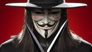 V For Vendetta Red Background 3D Graphics 3840x2160 Wallpaper