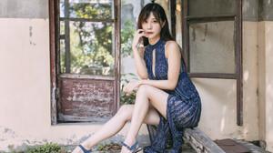 Ru Lin Women Asian Brunette Long Hair Straight Hair Makeup Dress Blue Clothing Legs Window Ruins 2048x1365 wallpaper