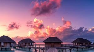 Bungalow Hut Maldives Ocean Resort Sea 3012x2000 wallpaper
