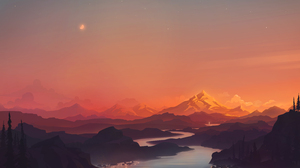Digital Painting Landscape Mountains River Sky Sunset RmRadev Nature 3000x2000 Wallpaper