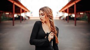 Women Women Outdoors Long Hair Freckles Black Dress Makeup 7175x3961 Wallpaper