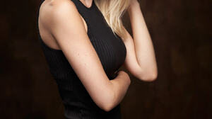Alexander Vinogradov Women Blonde Long Hair Looking At Viewer Dress Black Clothing Simple Background 1366x2048 Wallpaper