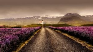 Church Landscape Lupine Nature Purple Flower Road 2000x1333 Wallpaper