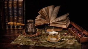 Book Coffee Coffee Beans Cup Still Life 2500x1667 Wallpaper