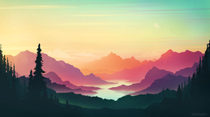 Digital Painting Sunset Mountains Forest River RmRadev 2100x1200 wallpaper