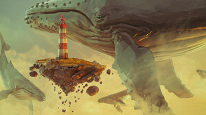 Floating Island Humpback Whale Lighthouse 2100x1080 Wallpaper