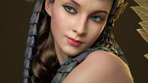 Qi Sheng Luo CGi Women Hair Accessories Dark Hair Cleopatra Blue Eyes Blush Gold Egyptian Looking Aw 2667x4000 Wallpaper