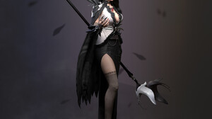 Cifangyi CGi Women Dark Hair Long Hair Looking Away Dress Black Clothing High Heels Shoes Platform H 1920x1920 Wallpaper