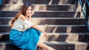 Asian Model Women Long Hair Dark Hair Depth Of Field Stairs Sitting Barefoot Sandal Long Skirt White 3840x2561 Wallpaper