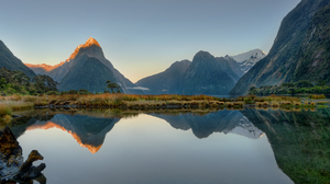Morning Reflection Milford Sound Mitre Peak Aotearoa New Zealand Mountain Peak Southern Alps Fjord S 5915x4048 wallpaper