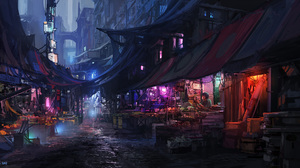 City Cyberpunk Cityscape Futuristic Market Night 2000x1000 Wallpaper