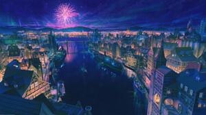 Arseniy Chebynkin ArseniXC ArtStation Cityscape 2019 Year Fireworks Sky River Ship City Lights Vehic 1920x1080 Wallpaper