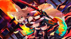 Kokonoe Tsubaki Sword Flat Chest Bare Midriff Fox Girl Anime Girls 1600x1003 Wallpaper