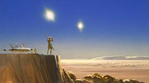 Artwork Painting Fantasy Art Space Sky Science Fiction Planet Landscape Star Wars Luke Skywalker Tat 2560x1440 Wallpaper