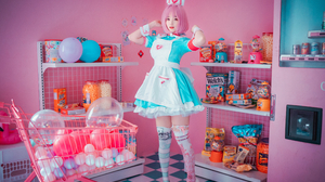 Women Model Asian Cosplay Riamu Yumemi THE IDOLM STER Cinderella Girls Nurse Outfit Dress Thigh High 3840x2560 wallpaper