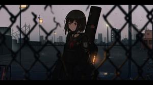 Are7o Anime Girls School Uniform Night Chain Link Fence 5047x2665 Wallpaper