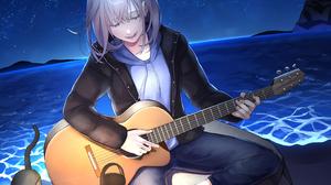 Girl Guitar Cat Sea Starry Sky Light 3169x2500 Wallpaper