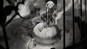 Artwork Fantasy Girl Catwoman Comic Art Monochrome Cats Animals 2625x1750 Wallpaper