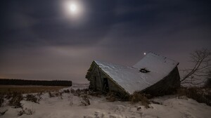 Grass House Moon Ruin Sky Snow 3840x2400 wallpaper