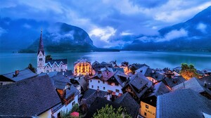 Austria Hallstatt Lake Mountain Town Winter 3840x2160 Wallpaper