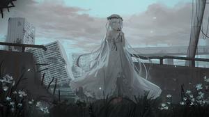 Girl Post Apocalyptic White Dress White Eyes White Hair 2500x1250 Wallpaper